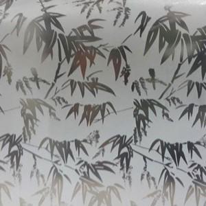 decal dán kính mẫu cành lá cây trúc màu xanh giá rẻ
